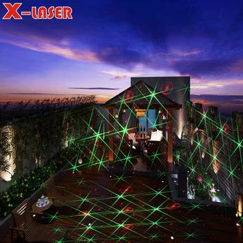 red green moving eight flower garden christmas laser lighting projector outdoorlandscape garden