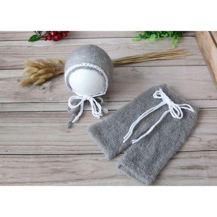 d5234f4ce80 Newborn mohair bonnet and pant full set Knit baby soft hat Newborn  photography props Crochet baby