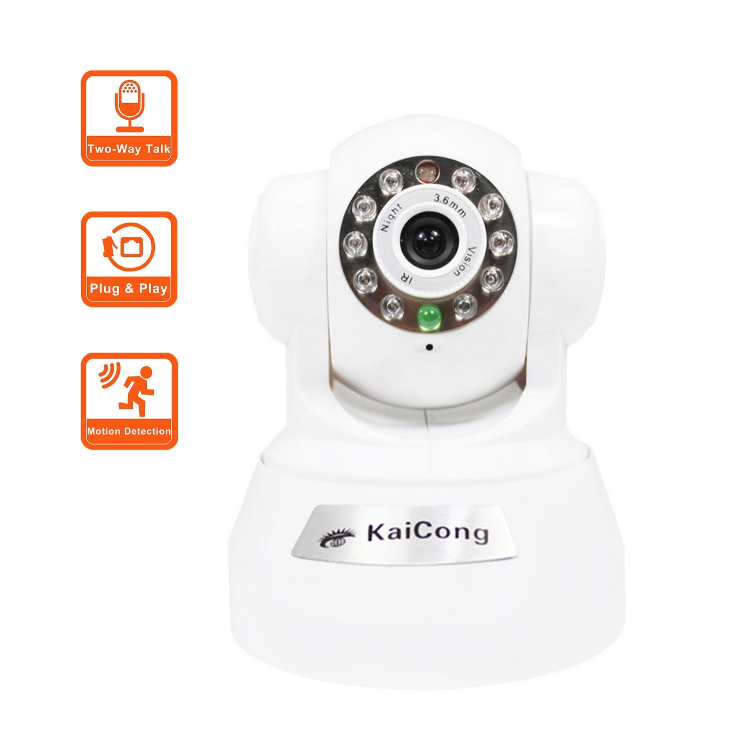 KaiCong Sip1602 Plug & Play/Pan & Tilt IP Camera Wireless Motion Detection Mobile View Network Camera With 20 Feet Night Vision3.6mm Lens