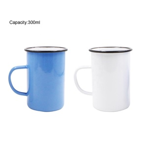 Promotional Wide Mouth Custom Shape Personalised Enamel Camping Travel Coffee Tea Metal Mug with Handle
