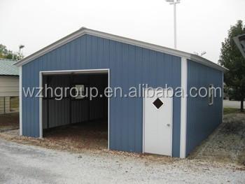 Prefabricated Sheet Metal Garage Or Carport With Roll Up Door