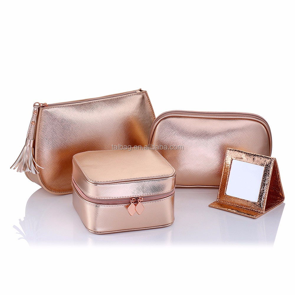 New Series Promotional Rose Gold Woman Beauty Make Up Cosmetic Bags In 2018 Bag Set Personalized Product