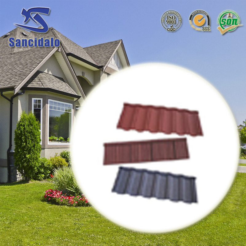 New style full body glazed clay color stone chip coated roof tile