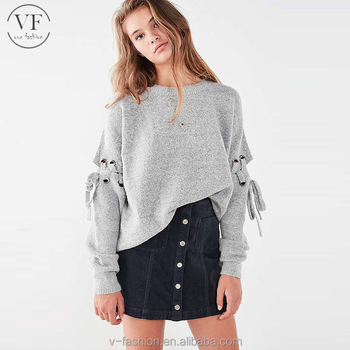 Alibaba Online Shopping Sale Fancy Women Lace Up Sleeve Sweater For