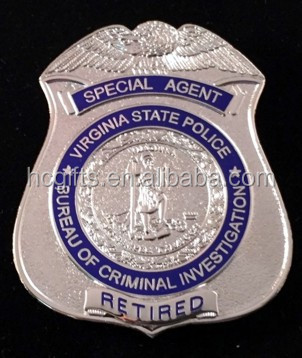 15 years manufacturer free artwork design low moq custom Special Agent Retired Badge