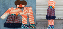 boutique and persnickety kids'dress sets ,remake outfits in stripe fabric match navy lace skirt ,contain fashional headband