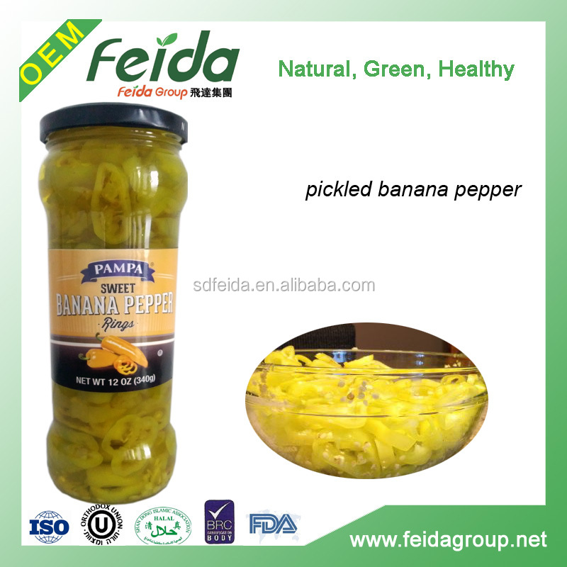 halal pickled banana pepper green chili in drums for hamburger