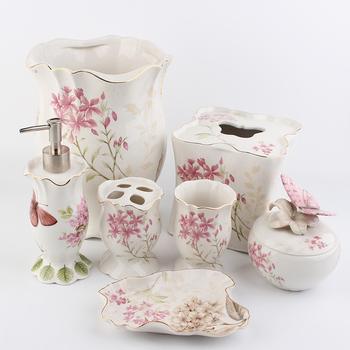 Style Chinois Fleur Rose Ensemble D\'accessoires De Salle De Bains - Buy  Ensemble D\'accessoires De Salle De Bain Fleur Rose,Ensembles D\'accessoires  De ...