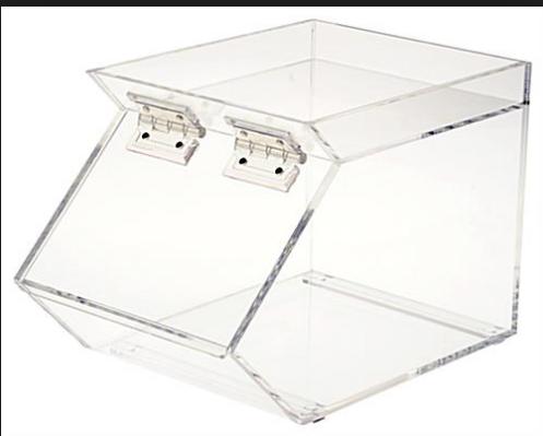 Hiina tehas Custom Clear Plexiglass Akrüül Bulk Candy Bin / Candy Bin Dispenser