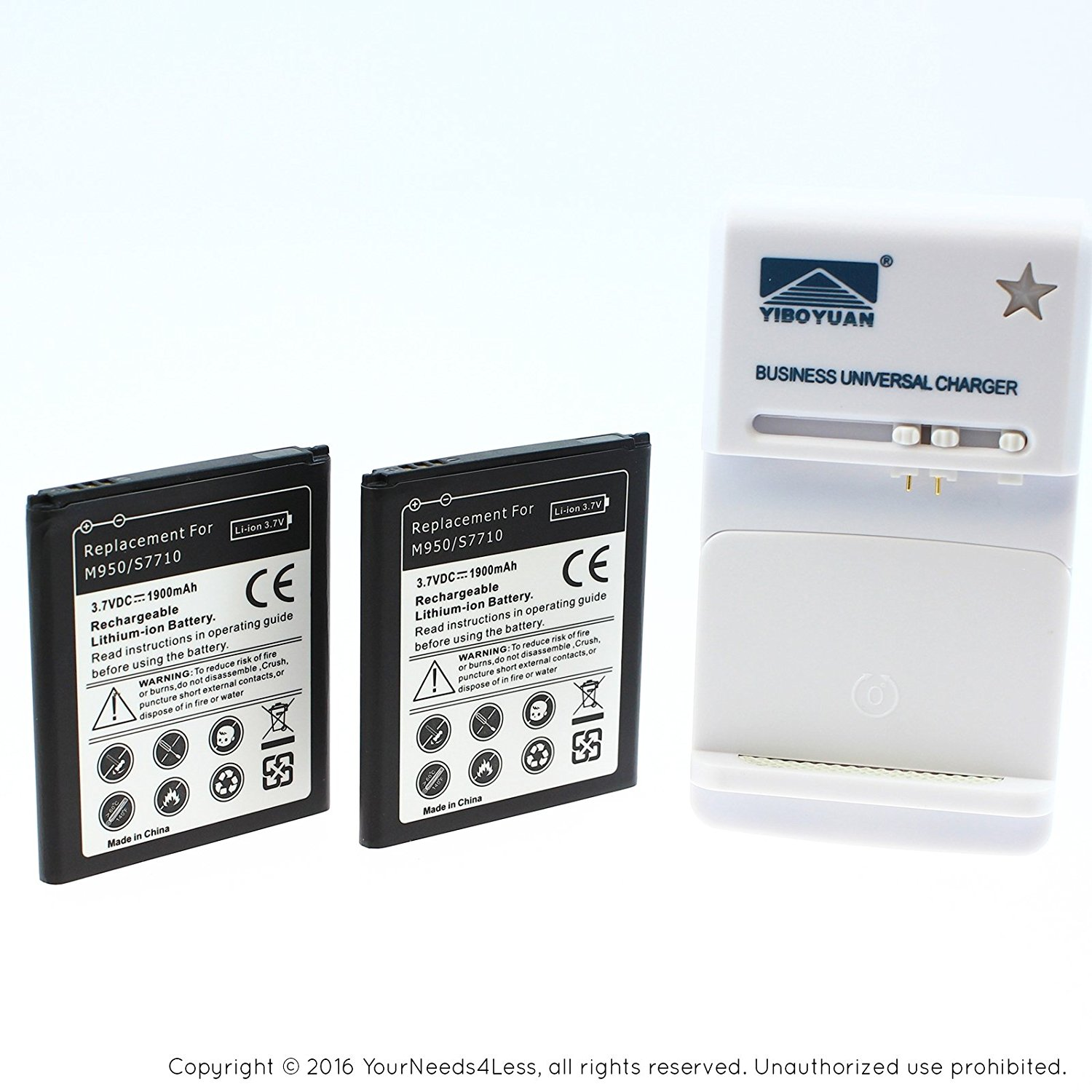 YN4L 2 X 1900mAh Replacement Batteries for Samsung Galaxy XCover 2 GT-S7710 ; reverb ; M950 ; S7710 ; EB485159LU + Wall Dock Charger Bundle