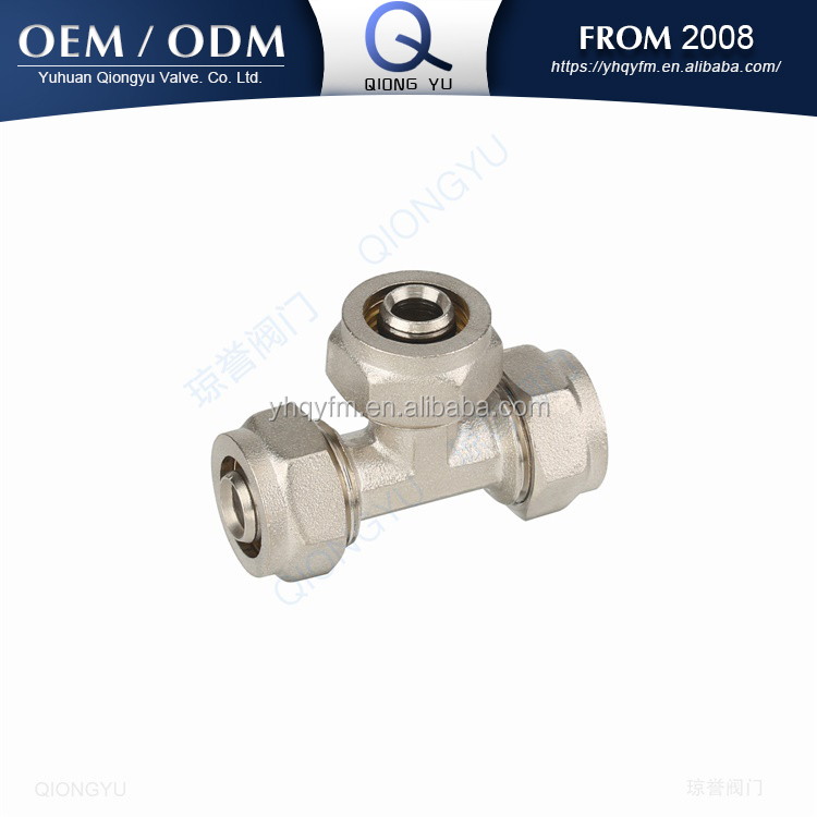 Multilayer pex pipe compression screw fitting tee