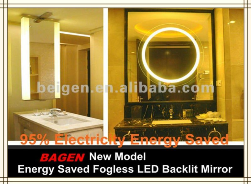 afina illume collection rectangular led backlit mirror with