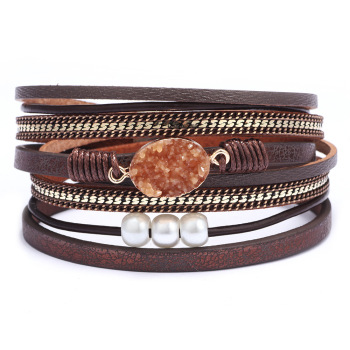 Natural stone Colorful leather stock copper magnetic buckle Bracelet
