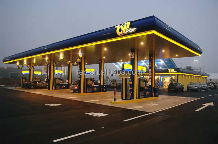 Special Prefab Steel Space Frame Gas Station Canopy Design
