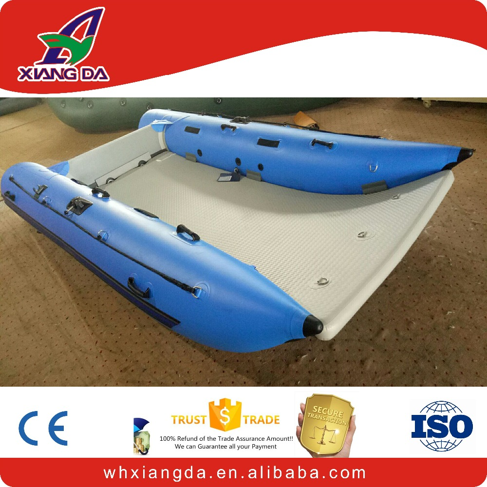 Fishing catamaran inflatable boat with electric motor