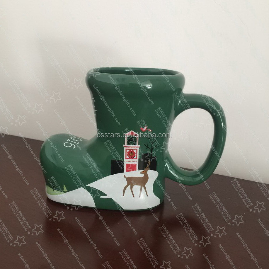 Custom 3d Ceramic Christmas Mug Cup In Special Boots Shape 2017 ...