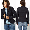 2013 hot sale long sleeves black color button placket design womens blazers made in China OEM