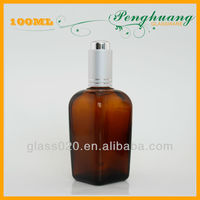 amber squared beard oil glass bottle with push buttom pump dropper