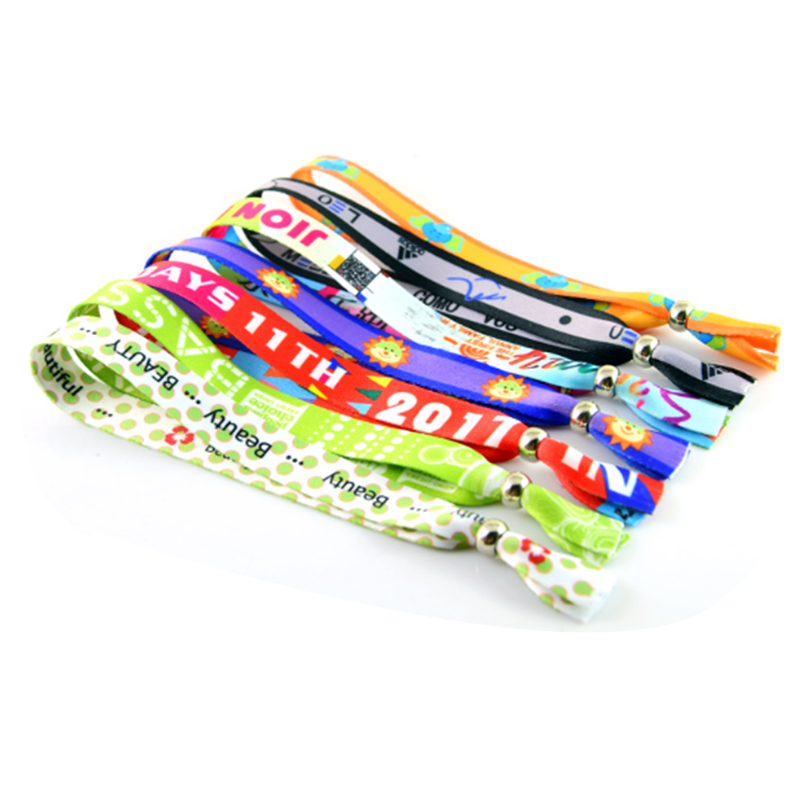 Polyester non removable plastic slide lock wrist band