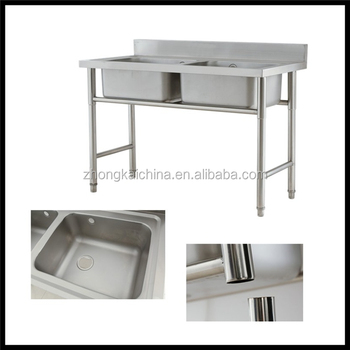 Free Standing Outdoor Stainless Steel Commercial Double Bowl Kitchen Sink
