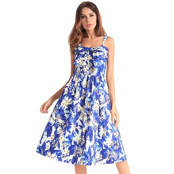 Western hot selling 2018 elegant floral printed ladies long dress satin soft braces sexy night dress for women