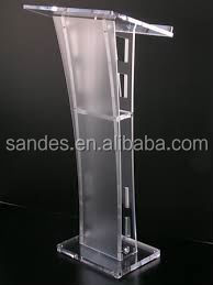 Acrylic Pulpit Perspex School Podium Lucite Church Lectern With Center Cross