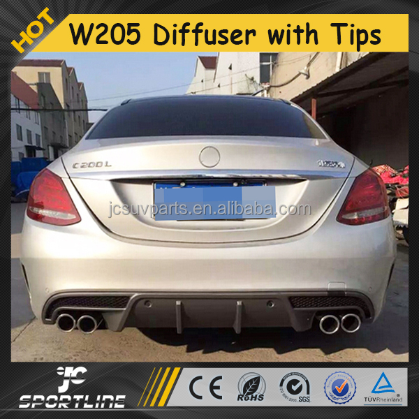 Auto Exhaust Tips with Rear Bumper Diffuser for Mercedes Ben z W205 Sport