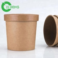 350 ml custom printed disposable take out paper food container kraft paper cup salad soup ice cream cup with lid