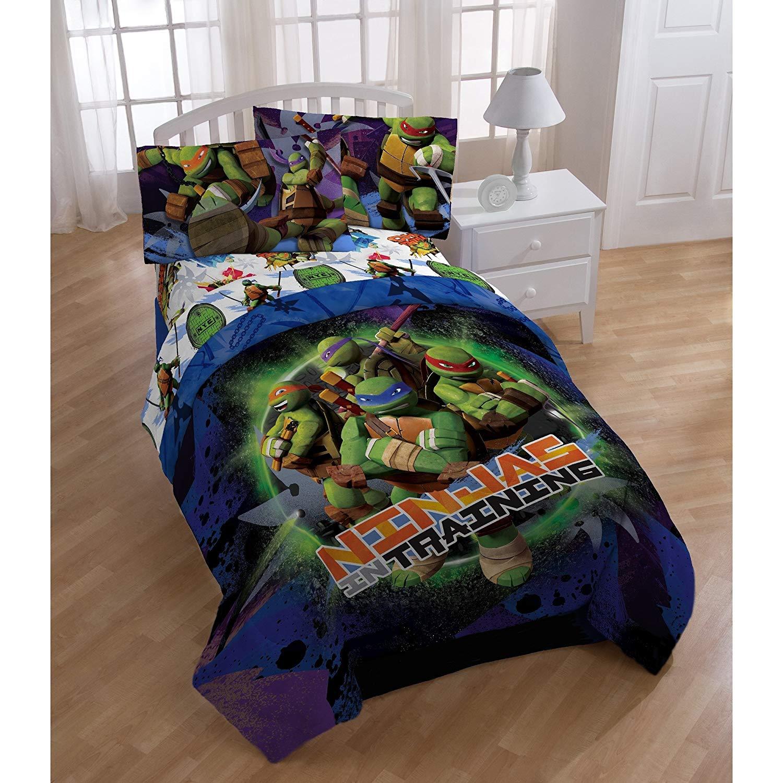 2 Piece Kids Teenage Mutant Ninja Turtles Comforter Twin Set, Boys Blue Purple Green TMNT Themed Bedding Leonardo Raphael Michael Angelo Donatello Character Ninja Training Graphic Pattern, Polyester
