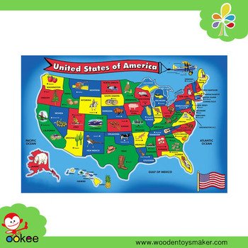 Funny United States Map.Wooden Blue Style Jigsaw Puzzle Usa Map 51 Pcs Floor Puzzle Funny