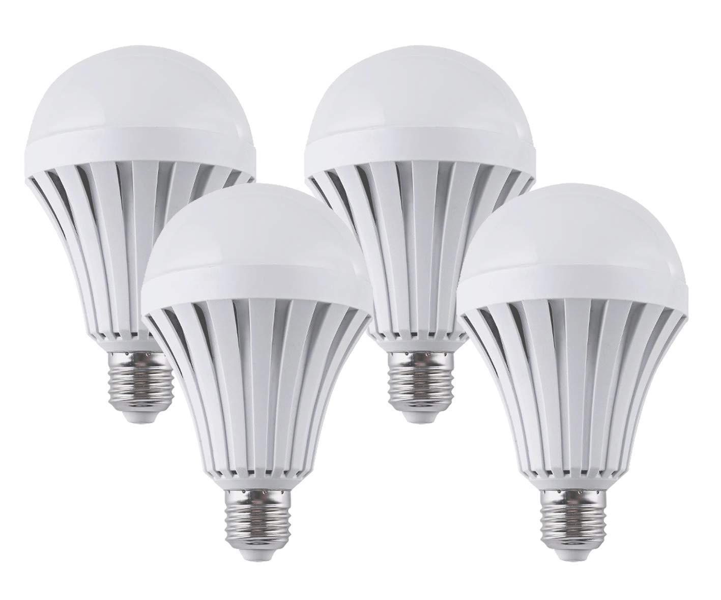 CTKcom LED Light Bulbs(4 Pack)- 9W Emergency Lamps Household Lighting Bulbs for Hurricane,Saving Energy Intelligent Light Rechargable Electricity 65W Equivalent 6500K White Bulbs 120V E26 E27 Base