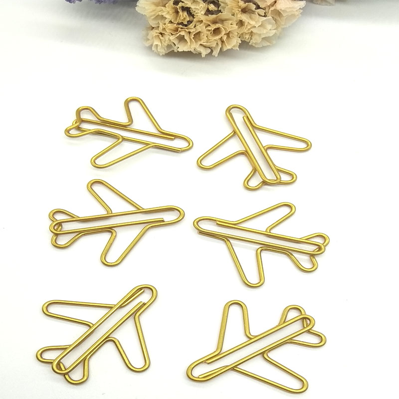 Customized gold airplane shape paper clip Stock gold paper clips