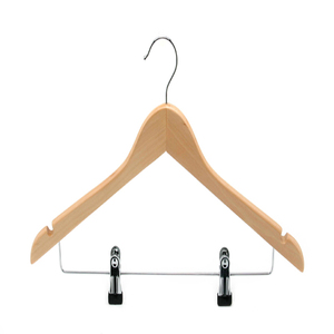 Natural Color Garment Wooden for with pants clips Hanger
