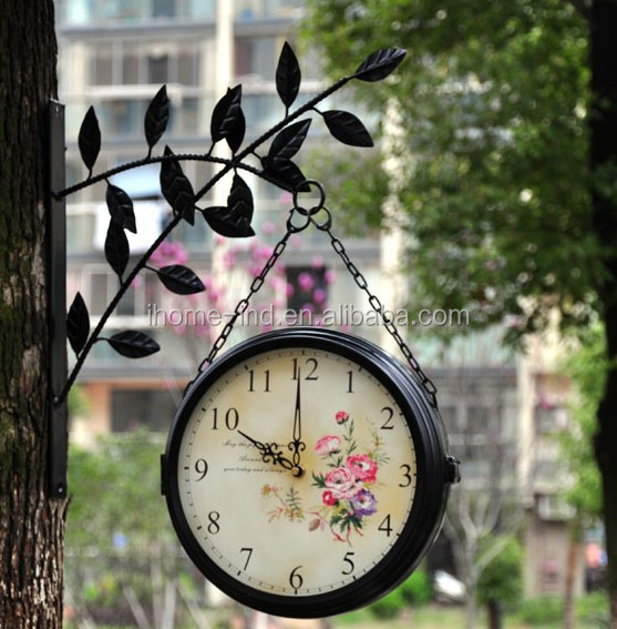 decorative outdoor clock two face clock hanging double side wall clocks