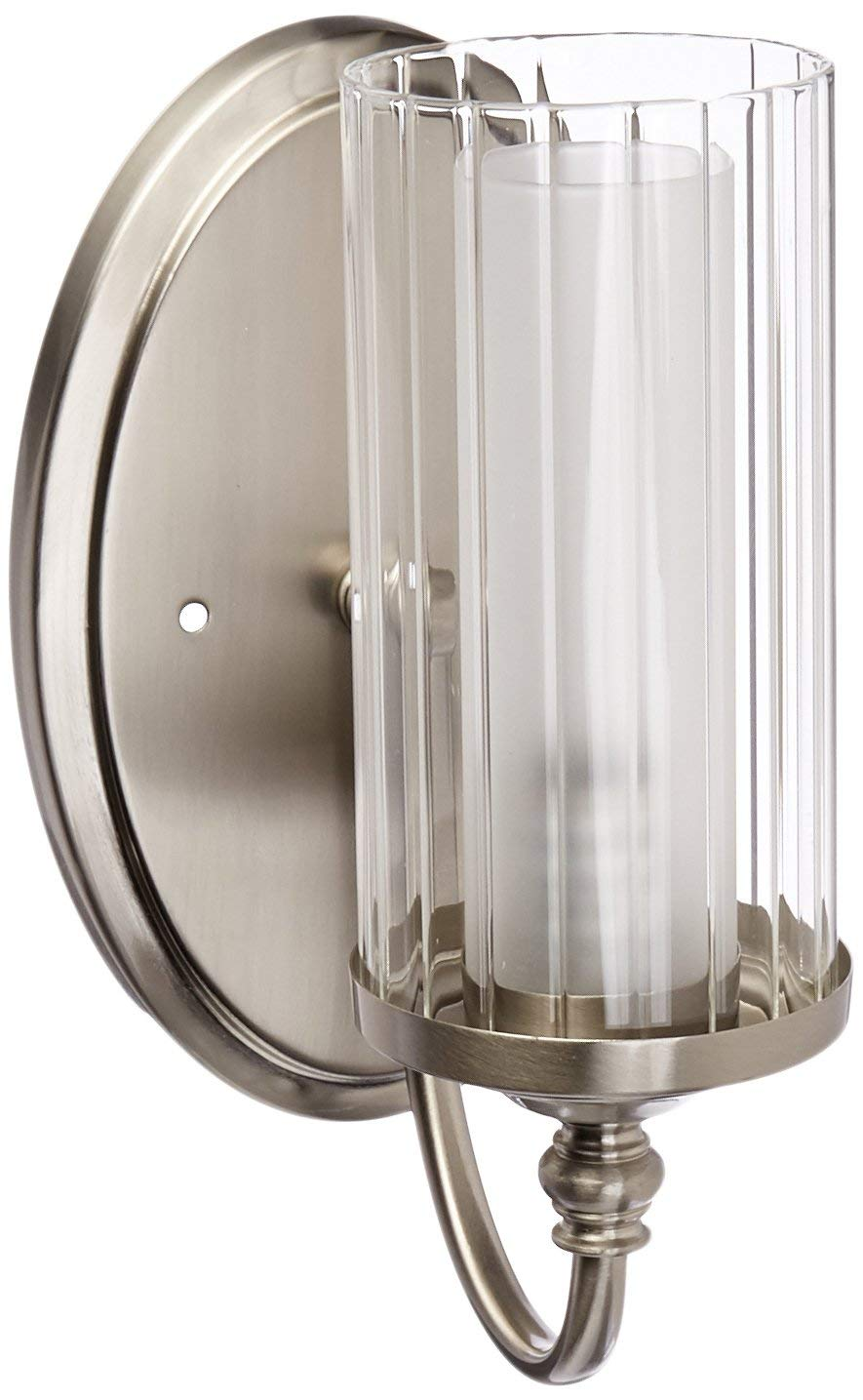Hardware House LLC 20-9304 # Lexington Series 1-Light Wall Fixture Satin Nickel Wall and Bath One-Light Fixture Comes with Clear Ribbed and Frosted Glass Uses (1) 60 Watt (E12) Candelabra Base Bulb