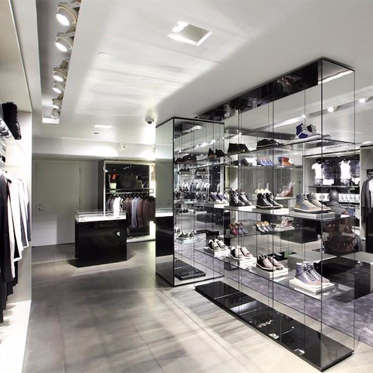 Customized Retail Luxury Glass Clothing Store Showcase For