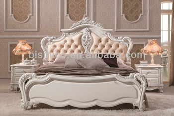Princess Lovely Style Fancy Bed,Wooden Hand Carved Soft Bed,Elegant ...