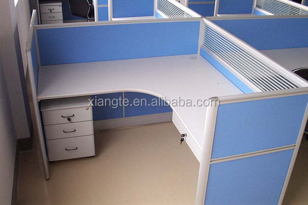 Practicalu0026beautiful Design 4 Seat Office Partition / Wooden Office Desk  With Partition And Pedestal, Commercial