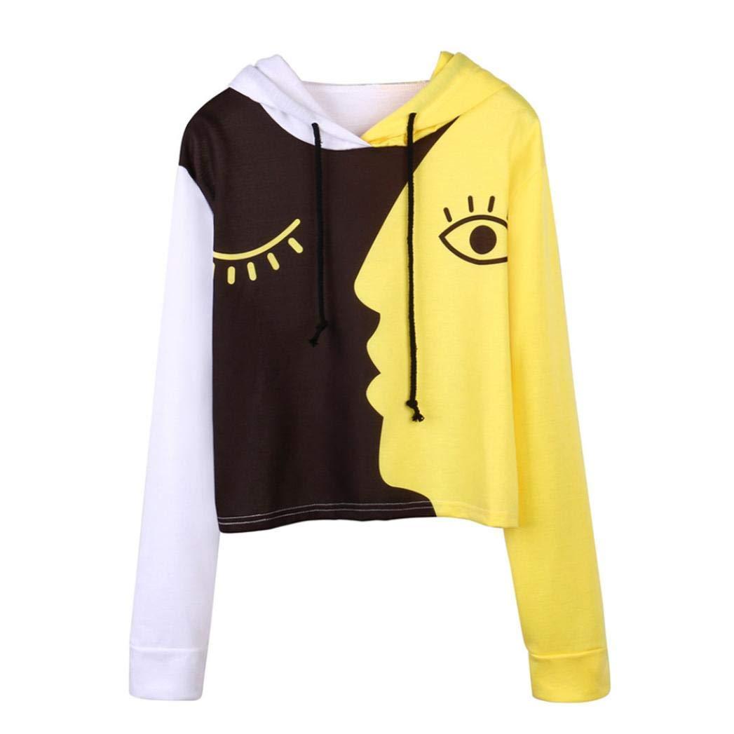 Crop Tops for Women,Novelty Face Printed Hoodie Sweatshirt Patchwork Pullover Tops Long Sleeve