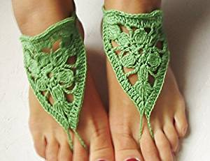 Beach Wedding Sandals,Green Wedding Accessory,Sexy Beach Sandals, Crochet Barefoot Sandals, Barefoot Sandals , Crochet Anklet, Sexy Lace Sandals,Beach,Wedding Footwear, Bridesmaid Sandals (Green-02)