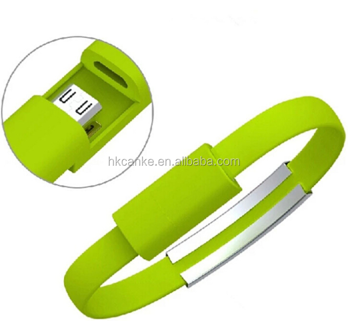 New Wristband Bangle Silicone Bracelet Micro USB Charger Data Cable For iPhone