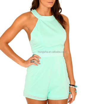 ea27482aa3a Mint Romper Lace Back Rompers Jumpsuits For Women 2015 Hsj1082