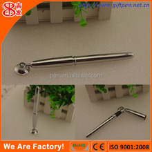 Fashionable high quality ballpen silver plated table pen with holder