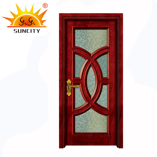 pvc flush entry frosted glass insert design wood interior bedroom door
