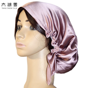 19 m/m Pure Silk Sleep night cap,silk bonnet with lace prevent hair from getting messy OEKO-Tex100