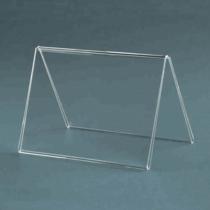 free standing clear V shape 5x7 acrylic table tent desktop V style perspex price tag clear 5x7 plastic menu display holder
