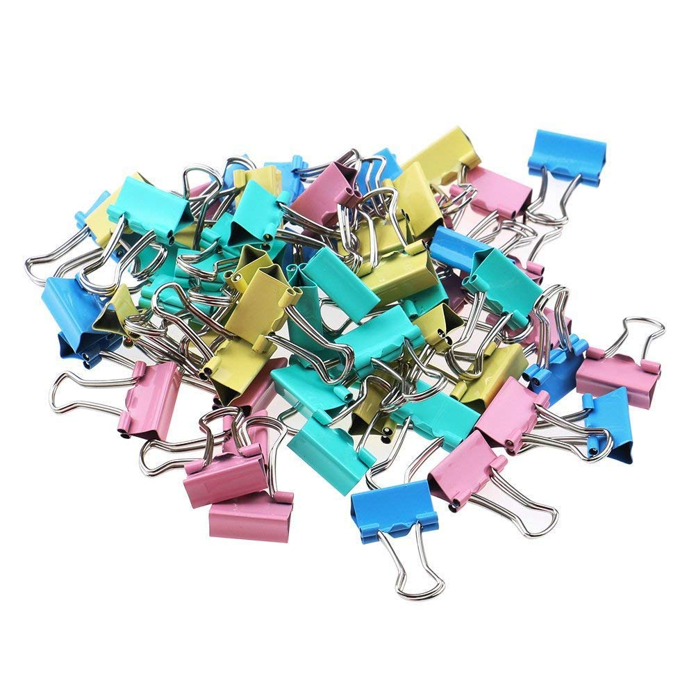 XIDAJIE 60 Pcs15mm Foldback Clips Mini Metal Paper Binder Clips, Office Essential Random colors mixed color for School Home Office