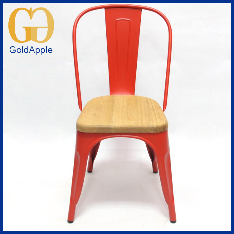 Industrial Side Chair Vintage Metal Red Dinning Chair with wood Seat