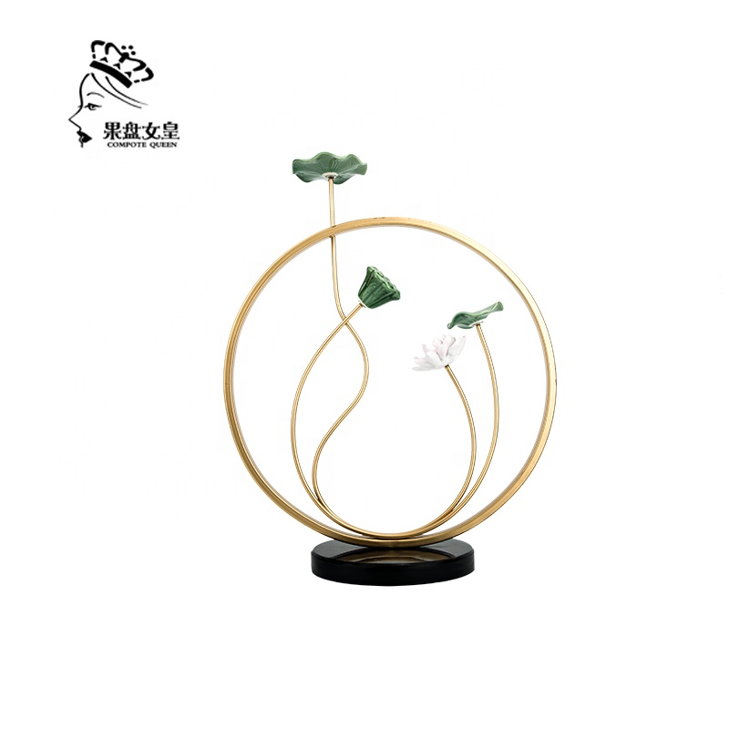 Compote Queen factory direct creative <strong>resin</strong> and metal crafts lotus model for home and hotel decor