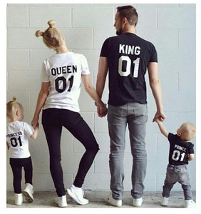 2018 New Hip-hop King01 Queen 01 parent-child outfit lovers t-shirts with short sleeves men's cotton T-shirt